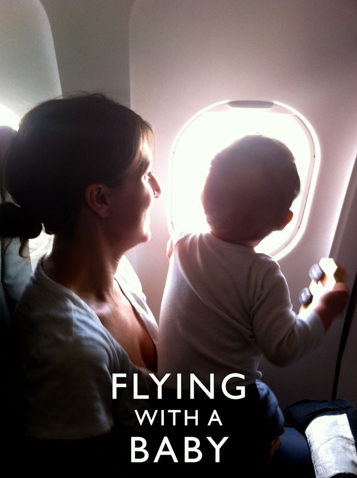 Women and Baby on an airplane