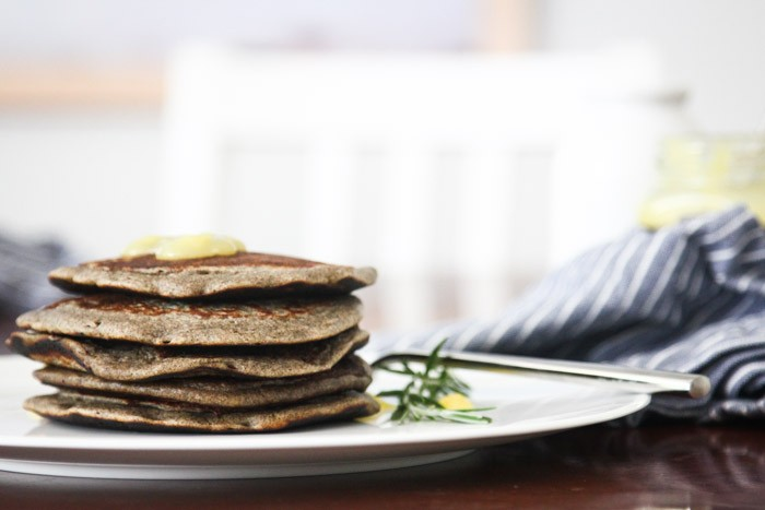 food drink  Lemon Rosemary Buckwheat Pancakes (inspired by the Peels muffin)